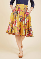 ModCloth Ikebana for All A-Line Midi Skirt in Saffron Floral in S