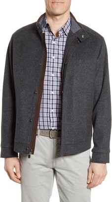 Peter Millar Crown Flex Fleece Wool Bomber Jacket