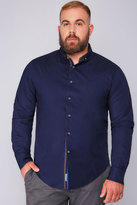 Yours Clothing D555 Navy Long Sleeved Shirt With Contrasting Lining Detail
