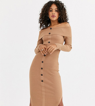 Asos Tall DESIGN Tall off shoulder midi dress with button detail-Stone