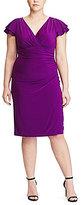 Lauren Ralph Lauren Plus Flutter-Sleeve Matte Jersey Dress