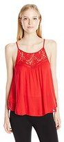 My Michelle Juniors High Neck Tank Top with Lace Inserts