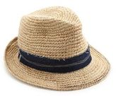 Tarboush Denim-Trim Raffia Fedora