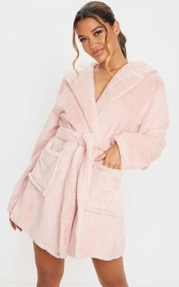 PrettyLittleThing Pink Teddy Bear Ear Dressing Gown