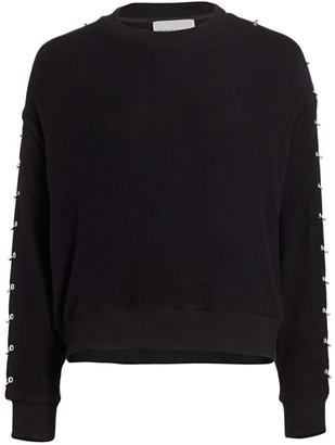 The Kooples Sweet Fleece Ring-Sleeve Sweatshirt