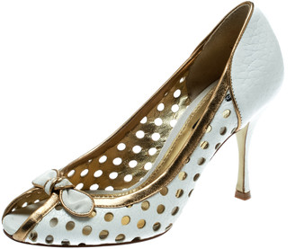 Dolce & Gabbana White/Gold Perforated Leather Bow Detail Peep Toe Pumps Size 36.5