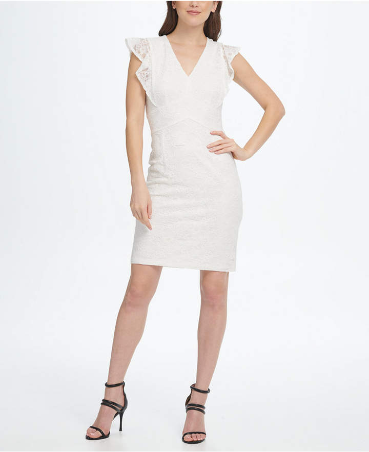 DKNY V-Neck Ruffle Cap Sleeve Lace Sheath Dress