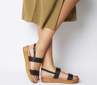 Office Madison Double Strap Sandals Black Leather