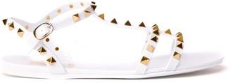 Valentino White Rubber Rockstud Sandals