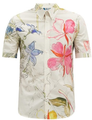 Alexander McQueen Deconstructed Floral-print Cotton Shirt - White Multi