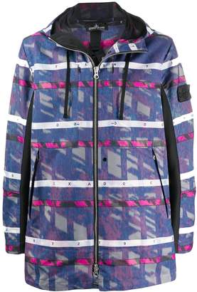 Stone Island Shadow Project patterned logo patch coat