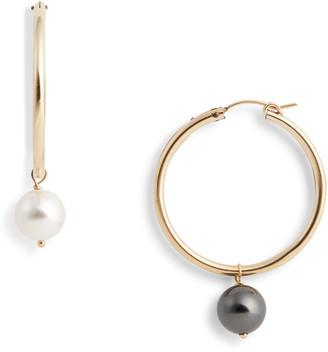 Agra Mismatched Swarovski Imitation Pearl Hoop Earrings