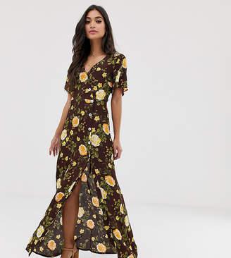 Miss Selfridge Petite maxi dress in floral print-Brown