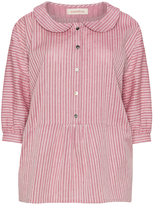 Isolde Roth Plus Size Striped Peter Pan collar blouse