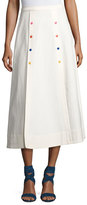 Saloni Candy Button Flared Midi Skirt, White