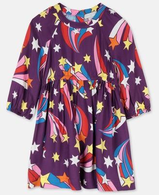 Stella Mccartney Kids Stella McCartney shooting stars viscose twill dress