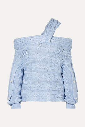 Hellessy Melody Off-the-shoulder Embellished Cable-knit Cotton Sweater - Blue