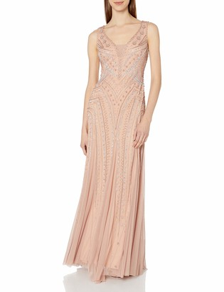 Adrianna Papell Women's Beaded Plunging V Neck Gown