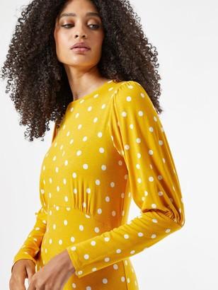 Dorothy Perkins Puff Sleeve Spot Jersey Fit & Flare Dress - Ochre