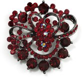 Avalaya Burgundy Red Diamante Corsage Brooch ( Tone)