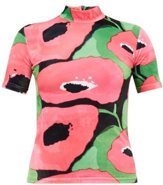 Richard Quinn Poppy-print Velvet Top - Womens - Pink Multi