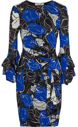 Diane von Furstenberg Wrap-effect Floral-print Stretch-mesh Mini Dress