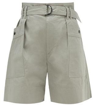 Etoile Isabel Marant Zayna Cotton-twill Cargo Shorts - Womens - Khaki