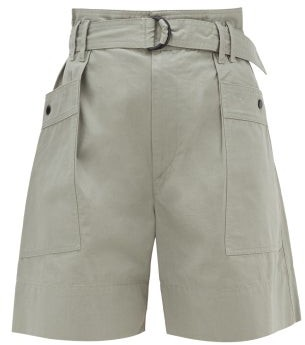 Etoile Isabel Marant Zayna Cotton-twill Cargo Shorts - Womens - Khaki