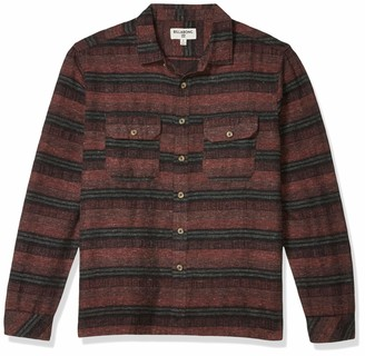 Billabong Men's Offshore Long Sleeve Flannel Shirt Orange Medium