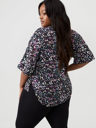 V By Very Curve Cuff Sleeve Blouse - Animal