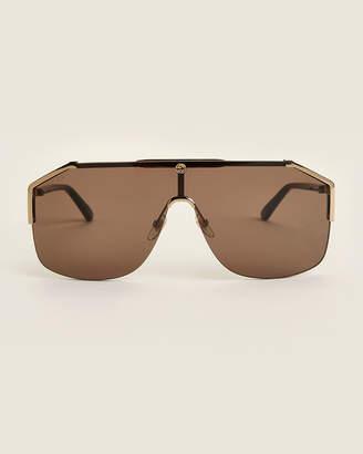 Gucci GG 0291S Brown & Black Shield Aviator Sunglasses