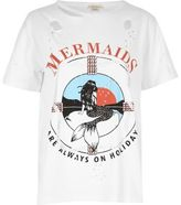 River Island Womens White mermaid print distressed tee