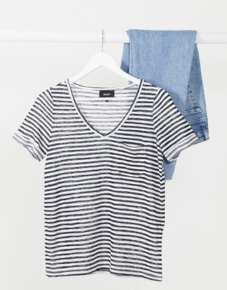 Object Tessi v-neck stripe T-shirt in multi