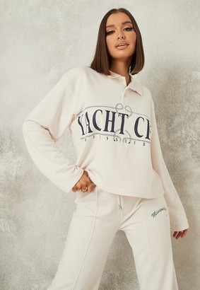 Missguided Pale Pink Polo Neck Yatch Club Oversized Sweatshirt