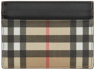 Burberry Black and Beige E-Canvas Card Holder