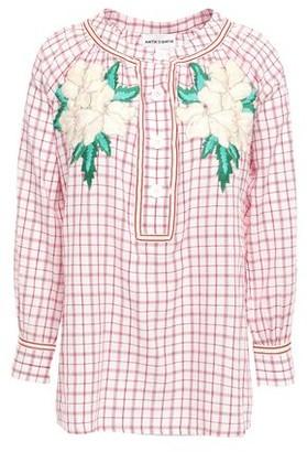 Antik Batik Tarifa Embroidered Checked Cotton-mousseline Blouse