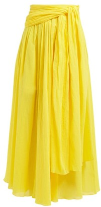 Three Graces London Dorothea Waist Tie Crinkle Cotton Skirt - Womens - Yellow