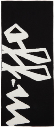 Off-White Black and White Wool Logo Scarf