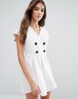 Wal G Skater Dress With Buttons