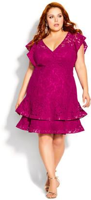 City Chic Sienna Dress - framboise