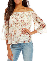 Lucky Brand Off-The-Shoulder Floral Print Shirred Top