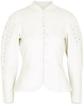 Jonathan Simkhai Dani white crochet-trimmed jacket