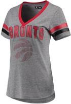 G Iii Women's G-III 4Her by Carl Banks Gray/Red Toronto Raptors Walk Off Crystal Applique Logo V-Neck T-Shirt