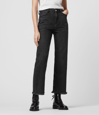 AllSaints Ash Cropped High-Rise Boyfriend Jeans, Washed Black