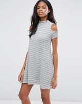 Influence Stripe Cold Shoulder Dress