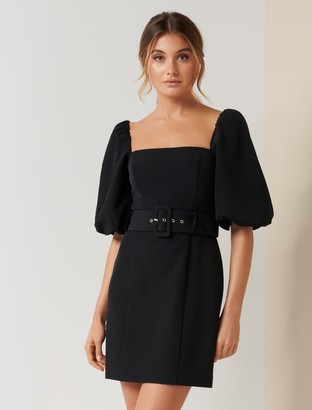 Forever New Henley Puff Sleeve Mini Dress - Black - 12
