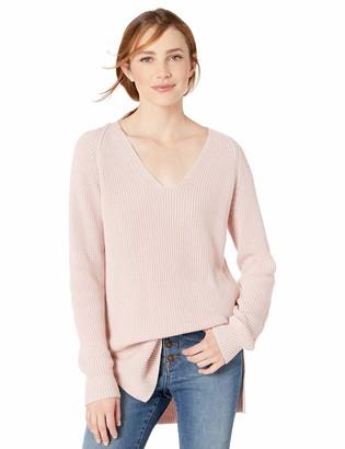 Goodthreads Cotton Half-Cardigan Stitch Deep V-Neck Sweater Pullover