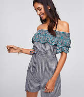 LOFT Beach Off the Shoulder Gingham Romper