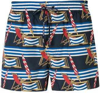 Dolce & Gabbana Deck Chair Print Swim Shorts