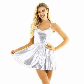 YiZYiF Womens Shiny Holographic Spaghetti Straps Flared Dress Short Skater Dress Festival Party Clubwear Black S